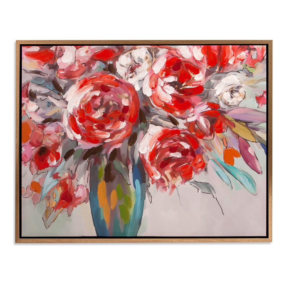 "Image of ""30""""x38"""" Scarlet Bouquet Floral Framed Canvas Art Gold - Patton Wall Decor"""