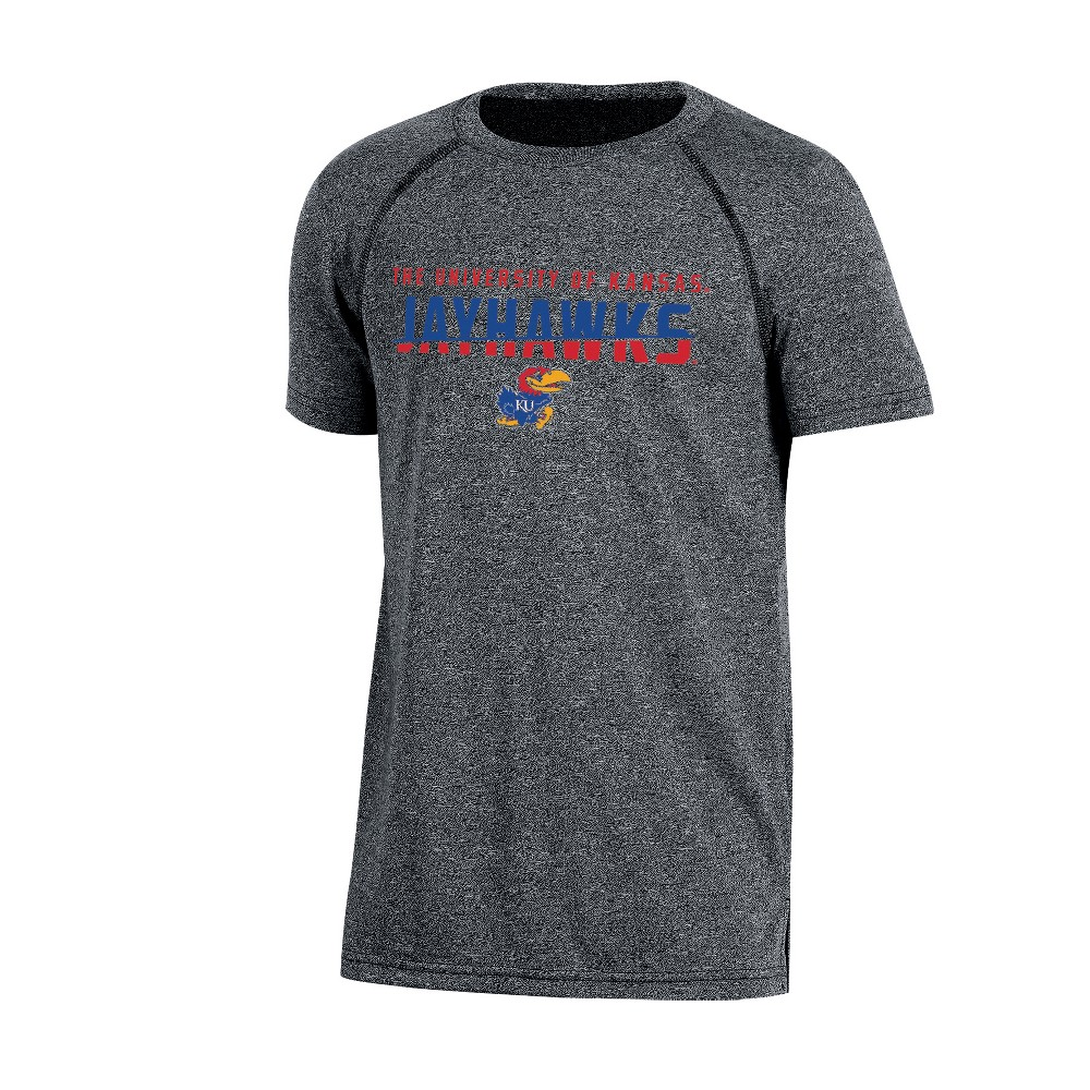 Kansas Jayhawks Boys' Short Sleeve Crew Neck Raglan Performance T-Shirt - Gray Heather XL, Multicolored