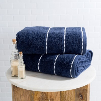 2pc Luxury Cotton Bath Towels Sets Navy - Yorkshire Home