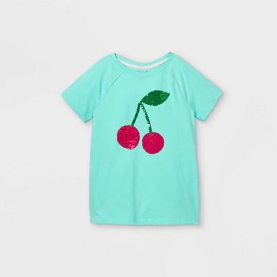 Girls' Flip Sequin Cherries Short Sleeve T-Shirt - Cat & Jack™ Green