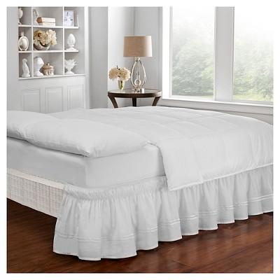 White Wrap Around Baratta Stitch Ruffled Bed Skirt (Queen/King)(80 X60 )- EasyFit™
