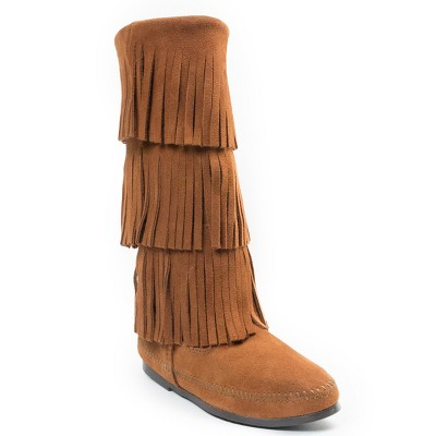Minnetonka Women's Suede 3 Layer Fringe Boot