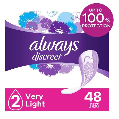 Always Discreet Incontinence and Postpartum Incontinence Liners - Very Light Absorbency - Regular Length - 48ct