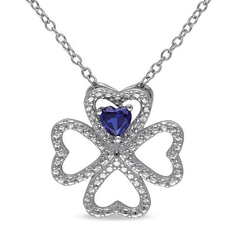 1/4 CT. T.W. Simulated Blue Sapphire Heart Clover Leaf Necklace in Sterling Silver - Sapphire - image 1 of 2