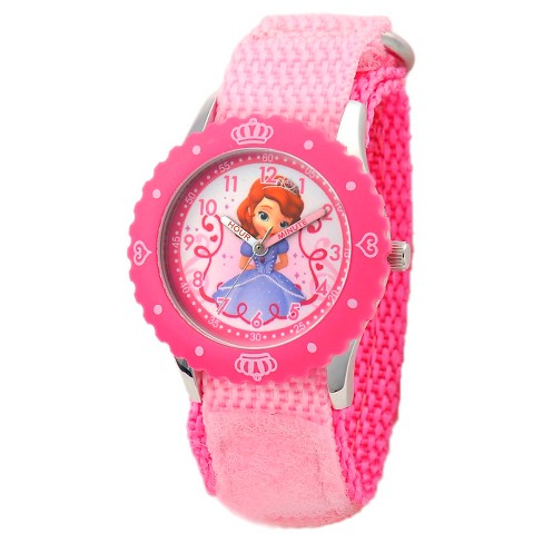 Disney® Girls' Sofia Stainless Steel with Bezel Watch - Pink - image 1 of 2