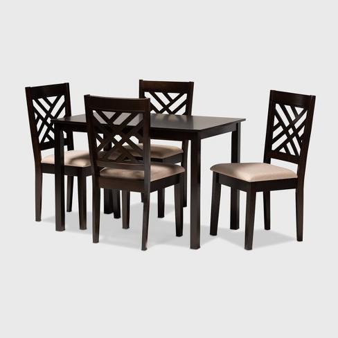 Caron Finished Wood 5pc Dining Set - Baxton Studio - image 1 of 5