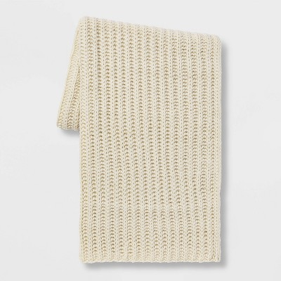 Chunky Knit Throw Blanket Cream - Threshold™