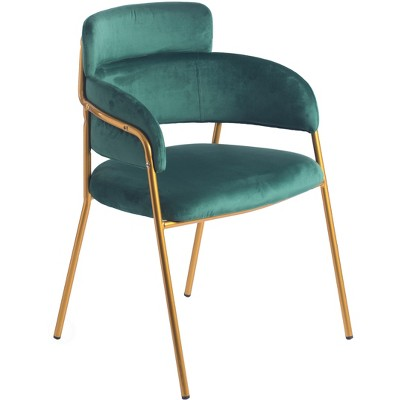 Bold Tones Modern Green Velvet Fabric Upholstered Accent Arm Chair with Gold Metal Legs