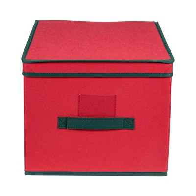 "Northlight 16"" Red and Green Collapsible Christmas Decoration Storage Box with Handel"