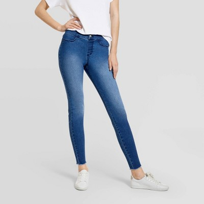 Hue Studio Women's Mid-Rise Frayed Edge Denim Leggings
