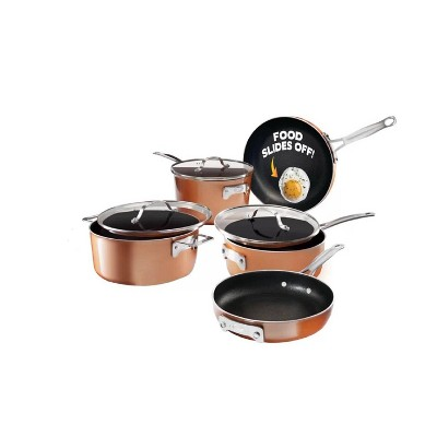 Gotham Steel Cast Textured Copper 8pc Stacking Cookware Set