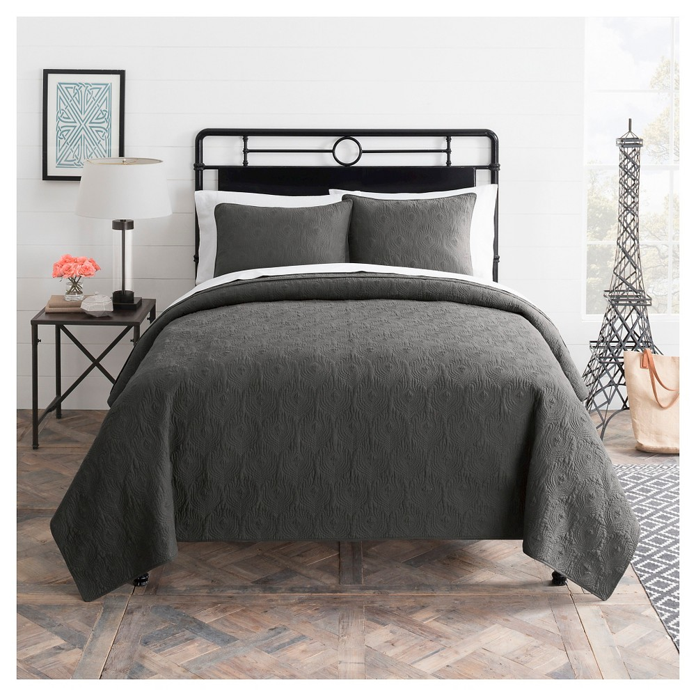 Seedling by ThomasPaul Aviary Solid Quilt Set Gray Twin - 2pc
