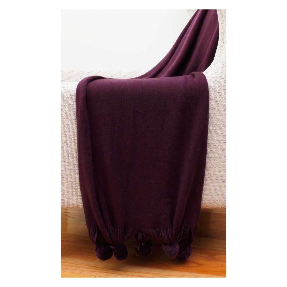 """Image of """"60""""""""x50"""""""" Barbie Pom Pom Knit Throw Blanket Purple - Decor Therapy"""""""