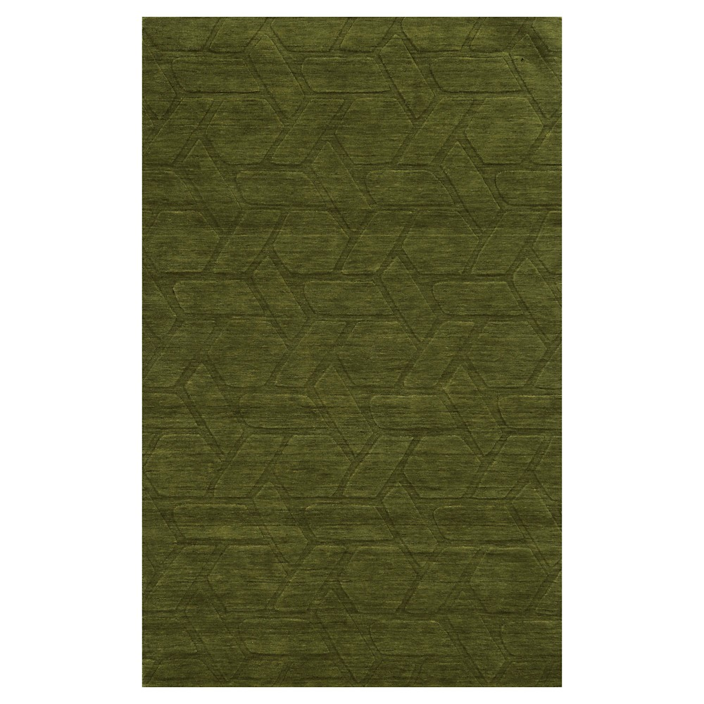 Rizzy Home Technique Collection Hand Loomed 100% Wool Area Rug - Green (5' x 8')