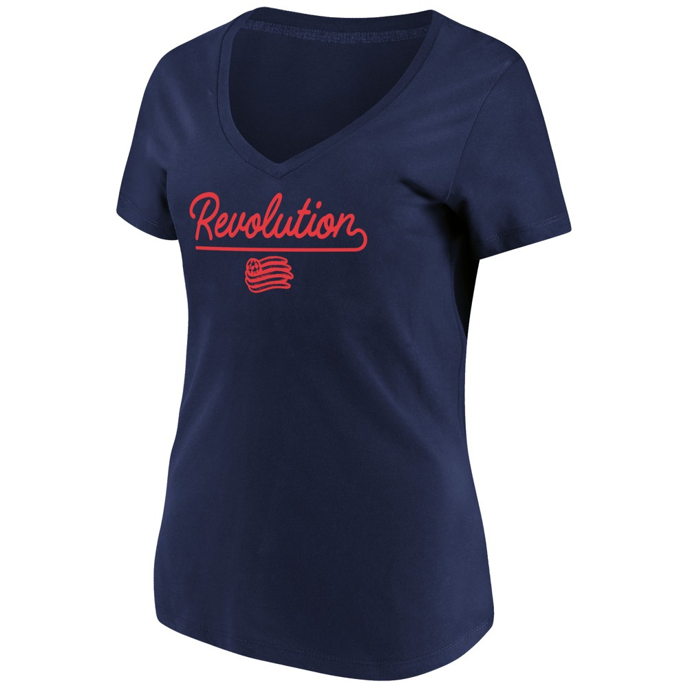 Mls Women's Short Sleeve V-Neck T-Shirt New England Revolution - Xxl, Multicolored
