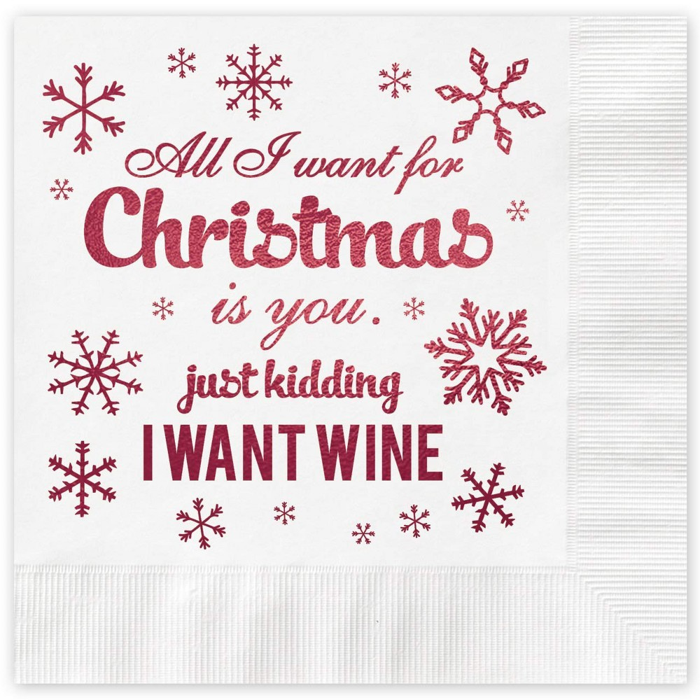 "Image of ""25Ct """"All I Want For Christmas"""" Greeting Cards, Red"""