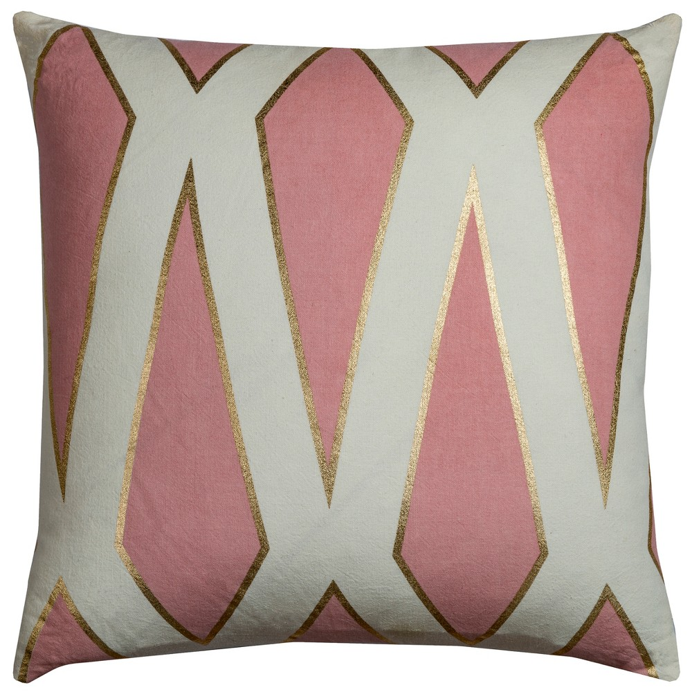 Image of Rizzy Home Geometric Throw Pillow Pink