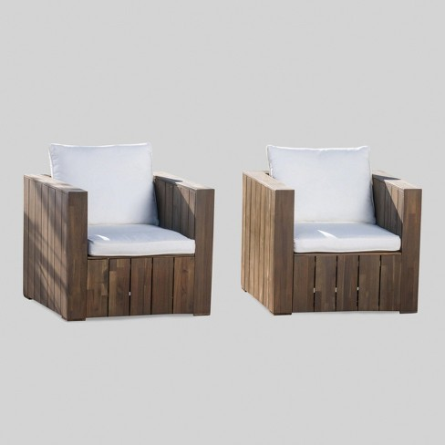 Brighton Patio Furniture.Brighton 2pk Acacia Wood Patio Club Chair Gray White Christopher Knight Home
