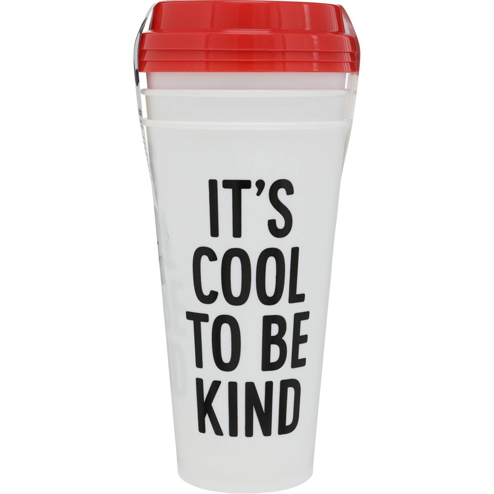 Image of Aladdin 16oz 3pk Plastic It's Cool To Be Kind Reusable Cup White