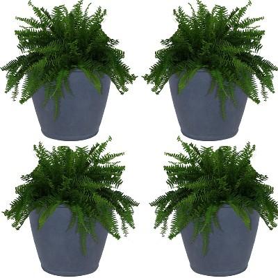 """Sunnydaze Anjelica Polyresin Indoor/Outdoor Unbreakable Double-Walled UV-Resistant Flower Pot Planter - 24"""" Diameter - 4-Pack - Slate"""