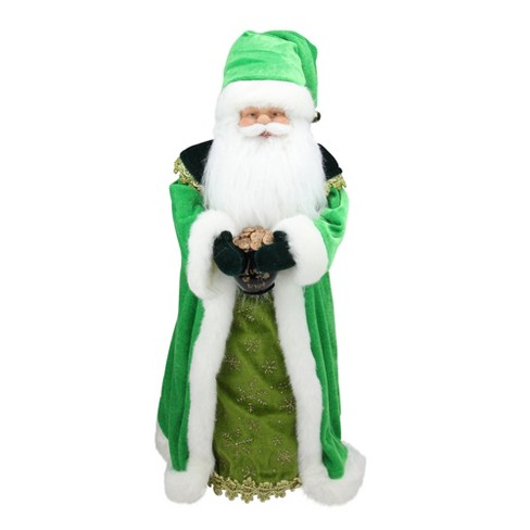 """Northlight 18"""" Unlit Irish Santa Claus with Pot of Gold Christmas Tree Topper - Green/White - image 1 of 3"""