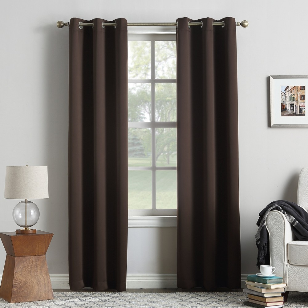 Kenneth Blackout Energy Efficient Grommet Curtain Panel Chocolate (Brown) 40