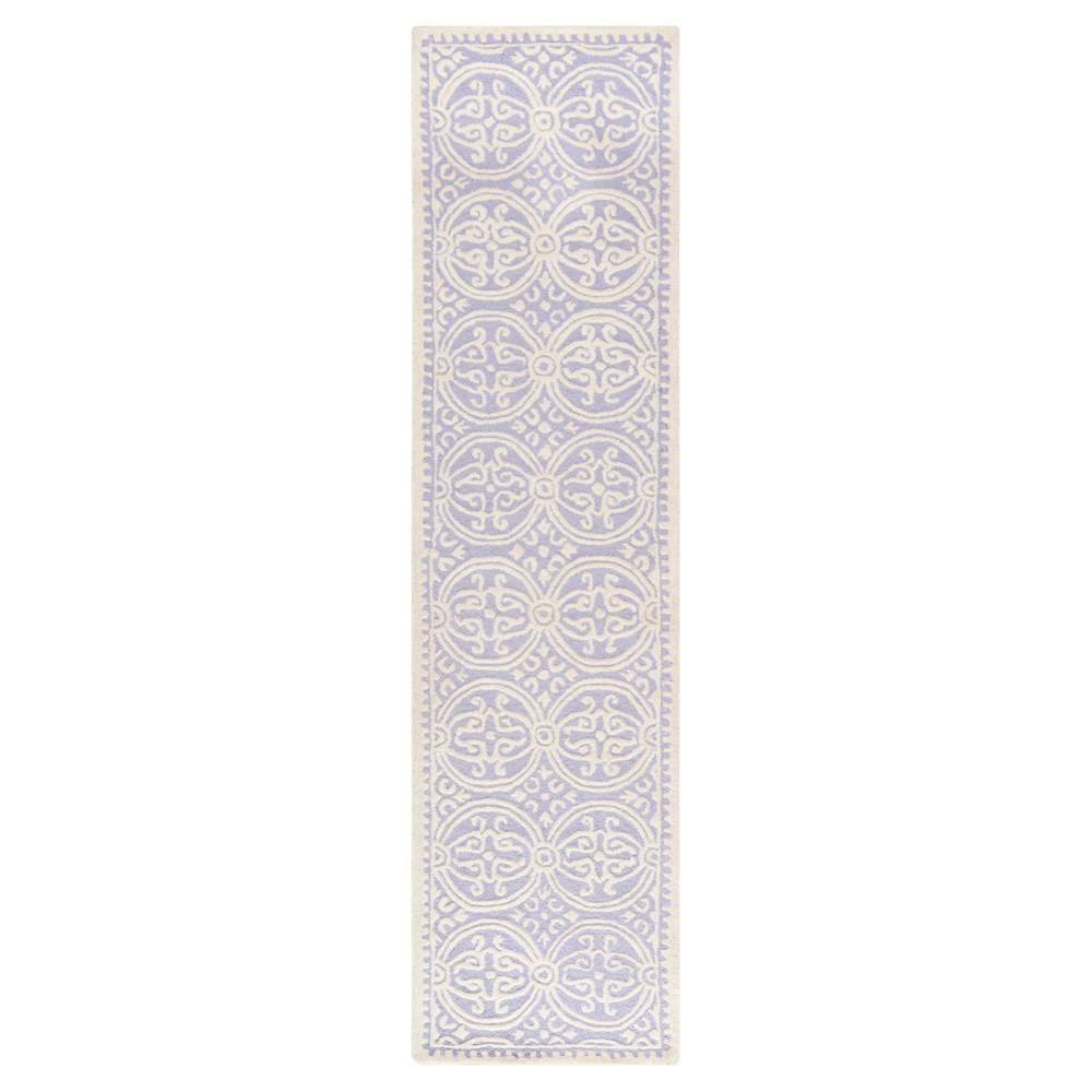 Lavender Ivory Geometric Tufted Runner 2 6 X6 Safavieh