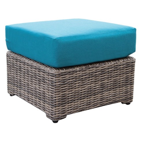 Cherry Hill 1pc Resin Wicker Ottoman with Sunbrella Fabric Spectrum Peacock - AE Outdoor - image 1 of 3