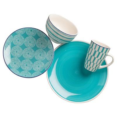 Euro Ceramica Simpatico Earthenware 16pc Dinnerware Set Teal