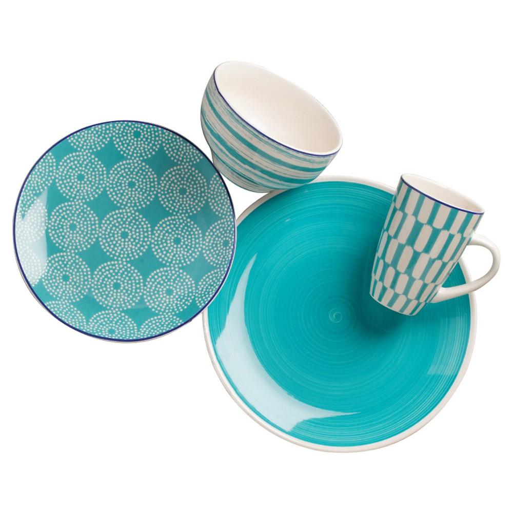 Euro Ceramica Simpatico Earthenware 16pc Dinnerware Set Teal (Blue)