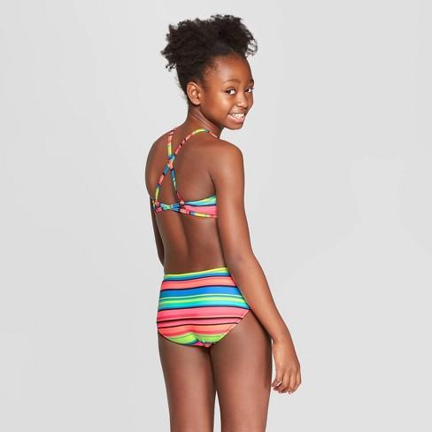 ab409b6581756 Girls' Palm Palooza Reversible Bikini Set - Art Class™ Black : Target