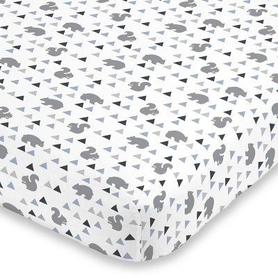 NoJo Mountain Patchwork Cotton Fitted Crib Sheet