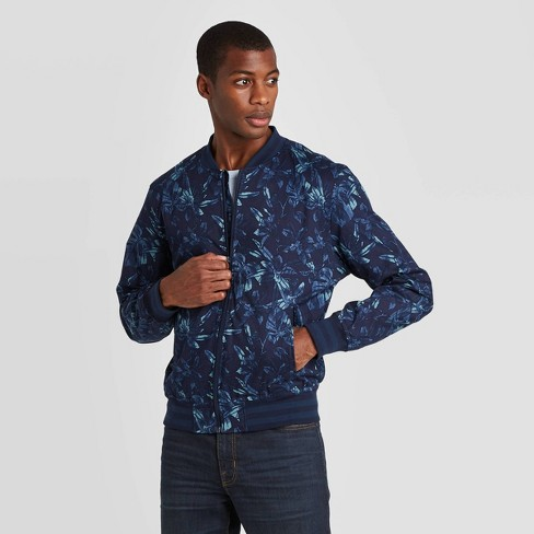 Men's Floral Bomber Jacket - Goodfellow & Co™ Navy - image 1 of 2