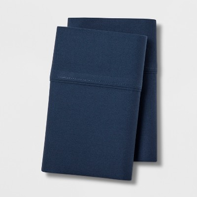 Standard 300 Thread Count Ultra Soft Pillowcase Set Dark Blue - Threshold™
