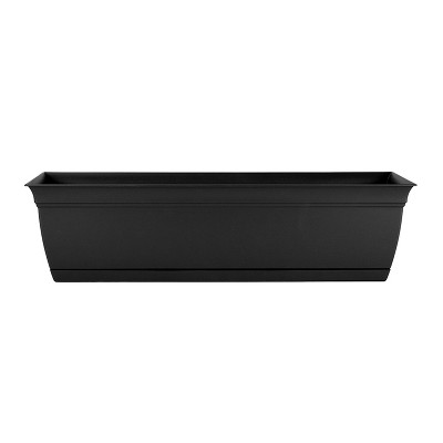 The HC Companies ECW24000G18 Indoor Outdoor 24 Inch Eclipse Series Window Flower Garden Ornamental Planter Box with Removable Attached Saucer, Black