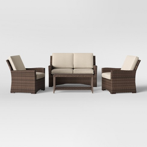 Halsted 4pc Wicker Patio Furniture Set Tan Threshold