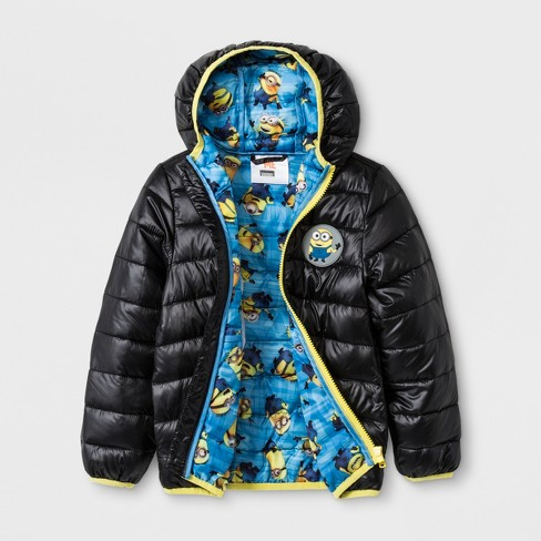 toddler boys 39 despicable me minions quilted hooded jacket black target. Black Bedroom Furniture Sets. Home Design Ideas