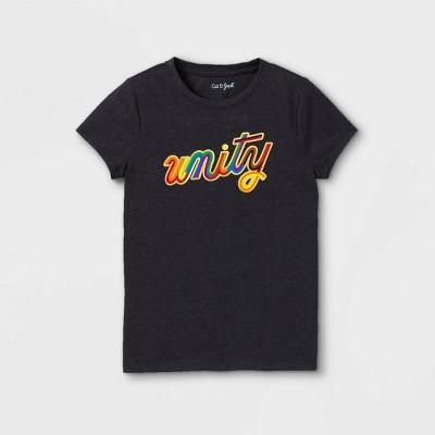 Girls' Unity Graphic Short Sleeve T-Shirt - Cat & Jack™ Black