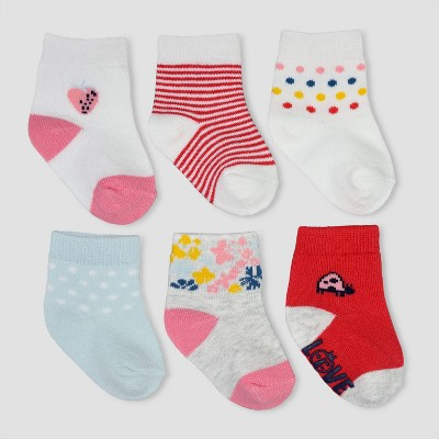 Baby Girls' 6pk Lovebug Crew Socks Casual socks - Just One You® made by carter's 3-12M