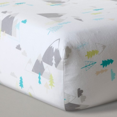Fitted Crib Sheet Mountains - Cloud Island™  White - image 1 of 3