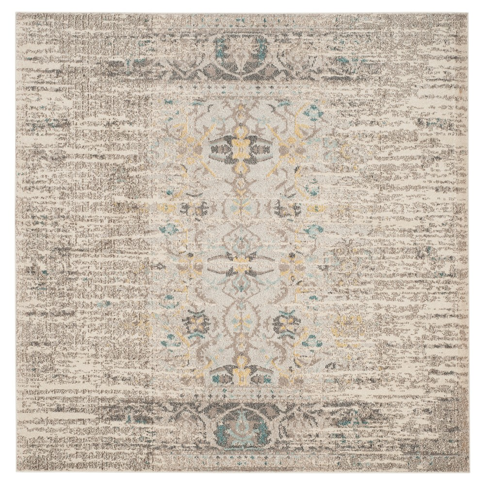 Gray Solid Loomed Square Area Rug - (6'7
