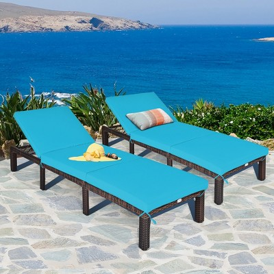 Costway 2PCS Outdoor Rattan Lounge Chair Chaise Recliner Adjustable Cushioned Turquoise\Red