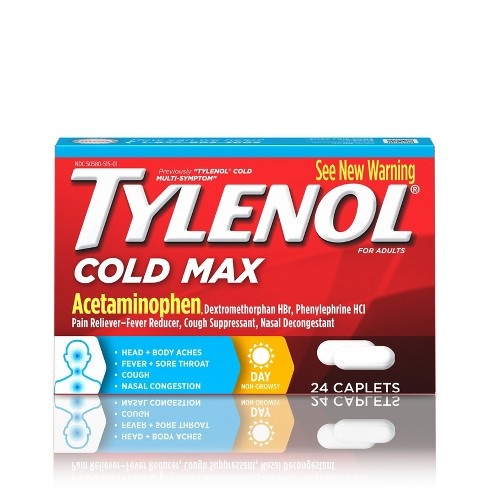 Tylenol Cold MAX Multi Symptom Caplets - Acetaminophen - 24ct - image 1 of 7