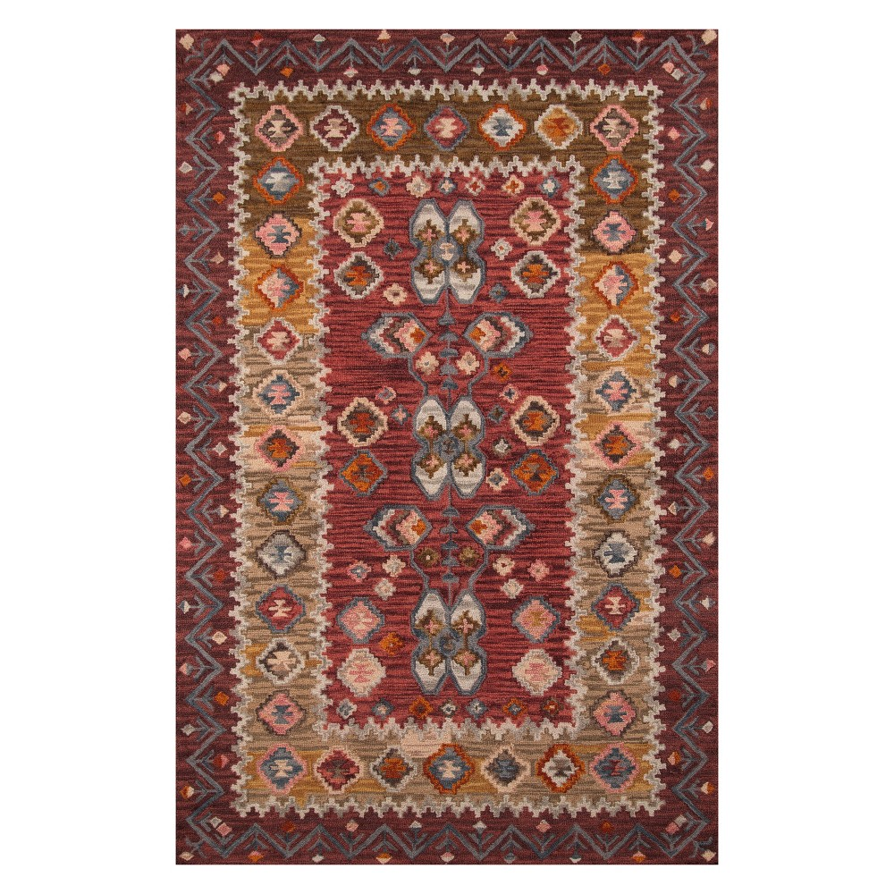 2'X3' Tribal Design Tufted Accent Rug Red - Momeni