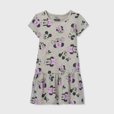 Girls' Disney Minnie Mouse A-Line Dress - Gray