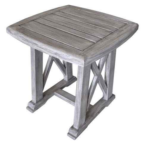 Teak Surf Side Outdoor Side Table - Driftwood Gray - Courtyard Casual - image 1 of 3