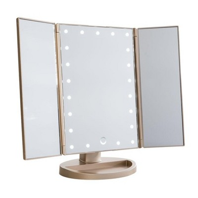 Impressions Vanity Touch 3.0 Trifold Dimmable LED Makeup Mirror - Champagne Gold