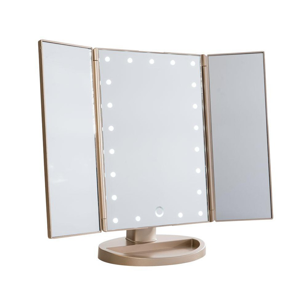 Image of Impressions Vanity Touch 3.0 Trifold Dimmable LED Makeup Mirror - Champagne Gold, Beige Gold
