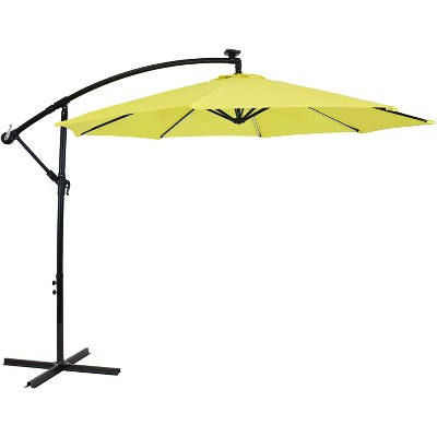 Sunnydaze Outdoor Steel Cantilever Offset Patio Umbrella with Solar LED Lights, Air Vent, Crank, and Base - 9' - Sunshine