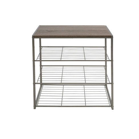 4 Tier Shoe Rack With Rustic Oak Finish Top Gray Metal - Threshold™ - image 1 of 4